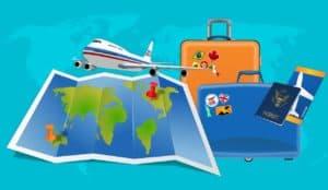 מטוס מפה ומזוודות